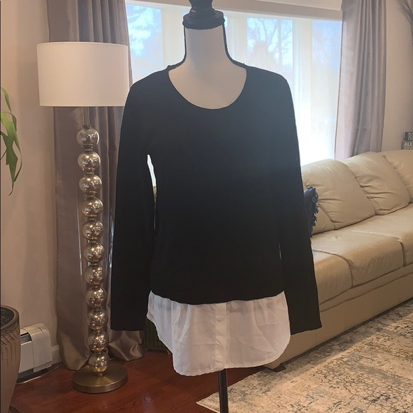 Cielo Tops - Black sweater with white formal shirt underneath